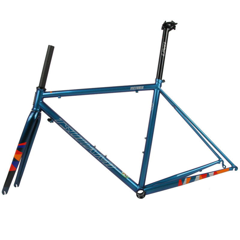 TSUNAMI Ultralight Chrome Frame Carbon Fork Heat Treatment Steel Road Bicycle 700C Chameleon Frameset Caliper Brake Frame