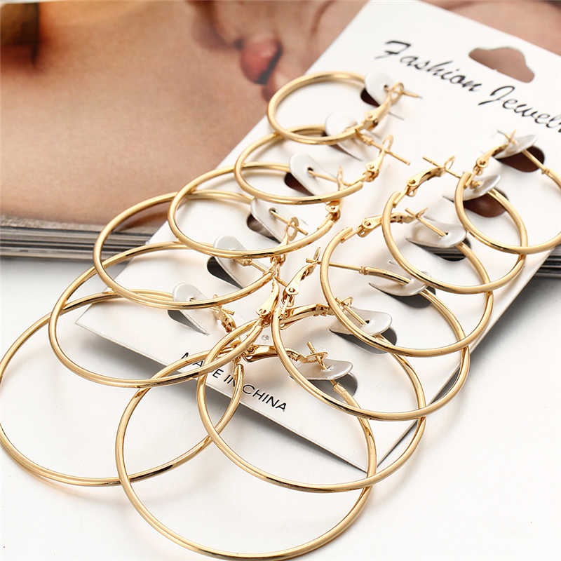 2018 New 6 Pairs/set Vintage Multiple Dangle Big Circle Hoop Earrings Gold Silver Rose Gold Women Steampunk Ear Clip Female