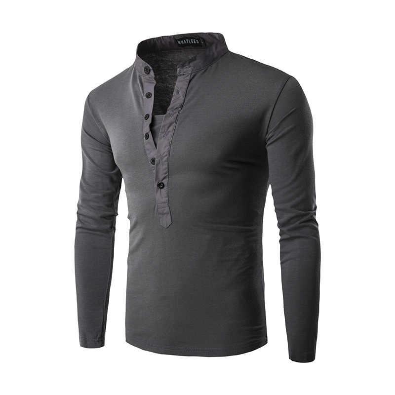 Новая тенденция черная футболка-поло Для мужчин Поло для мужчины Осенняя одежда 2016 года модные Для мужчин s Slim Fit с длинным рукавом Хенли Повседневное хлопковые рубашки-поло Xxl