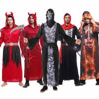 Umorden Uomini Adulti Male Demone Diavolo Costume Grim Reaper Cosplay Robe di Halloween Purim di Carnevale Costumi Del Partito di Fantasia Delle Donne del Vestito