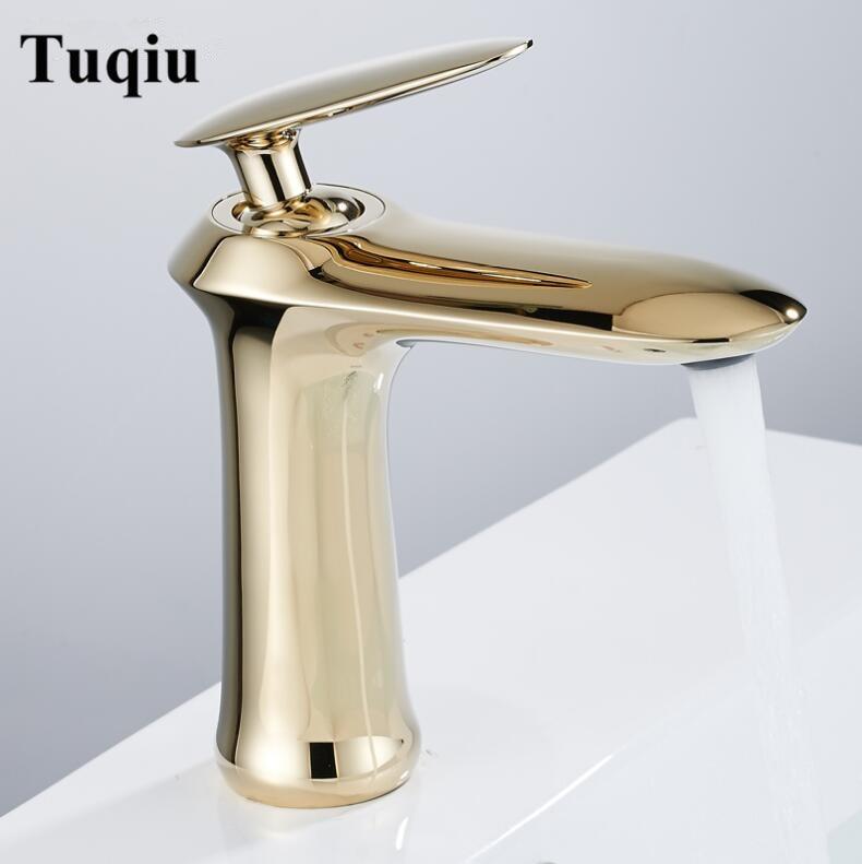 Robinets de bassin robinet moderne robinet de salle de bain finition or chaud et froid en laiton bassin évier robinet mitigeur robinets