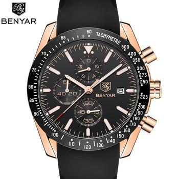 931b0fcb8614 BENYAR nueva silicona cronógrafo relojes hombres Top marca de lujo deporte  reloj masculino de los hombres de cuarzo reloj relogio masculino
