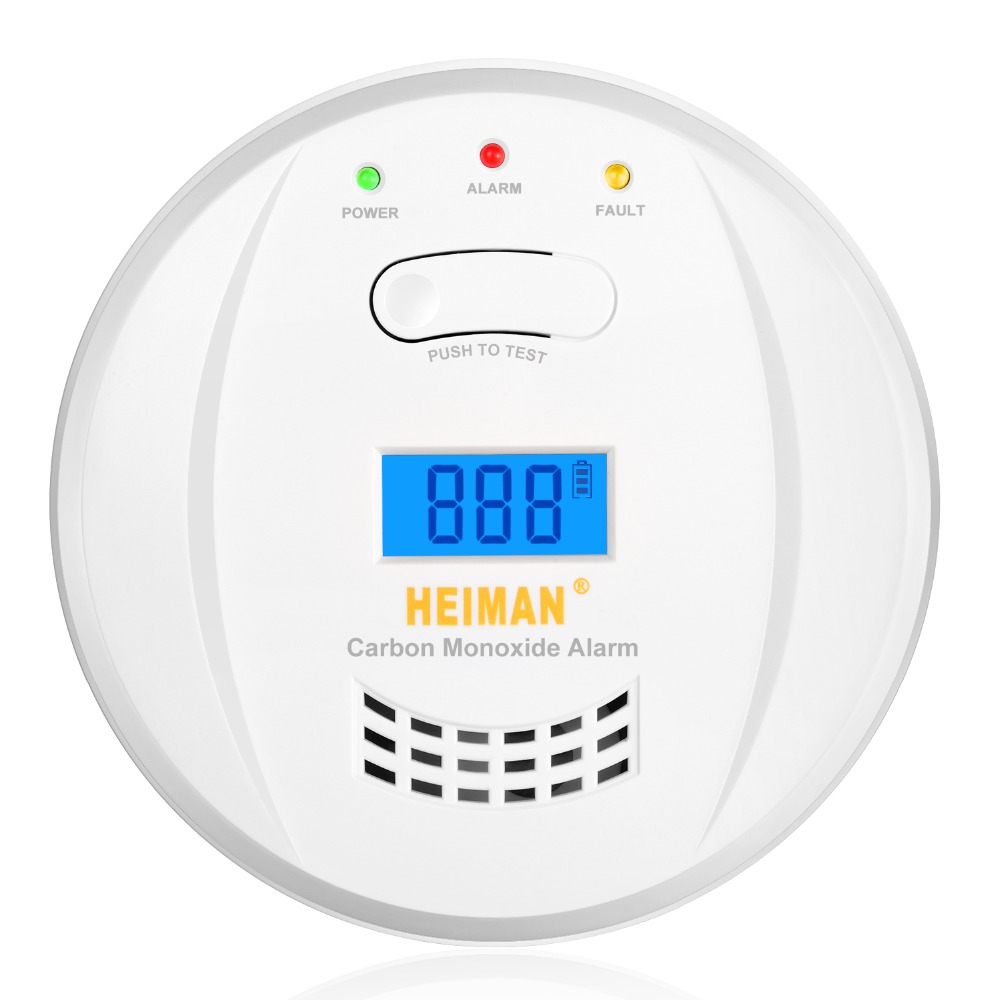 HEIMAN LCD Carbon Monoxide Detector Independent CO Gas Sensor 85dB Warning up High Sensitive Poisoning Alarm Detector HM 723ESY