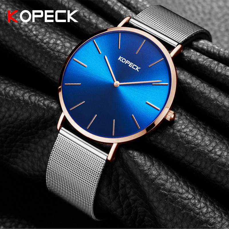 Kopeck Men Watches Top Brand Luxury Famous Wristwatch Male Clock Milan Strap Blue Dial Quartz Business Watch Relogio Masculino new top brand luxury clock women watch men watches famous wristwatch big dial male clock quartz watch relogio masculino