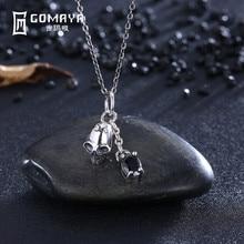 GOMAYA Vintage Skeleton with Black Zircon Pendant Necklace Women Gift 925 Sterling Silver Retro  Fine Jewelry Party