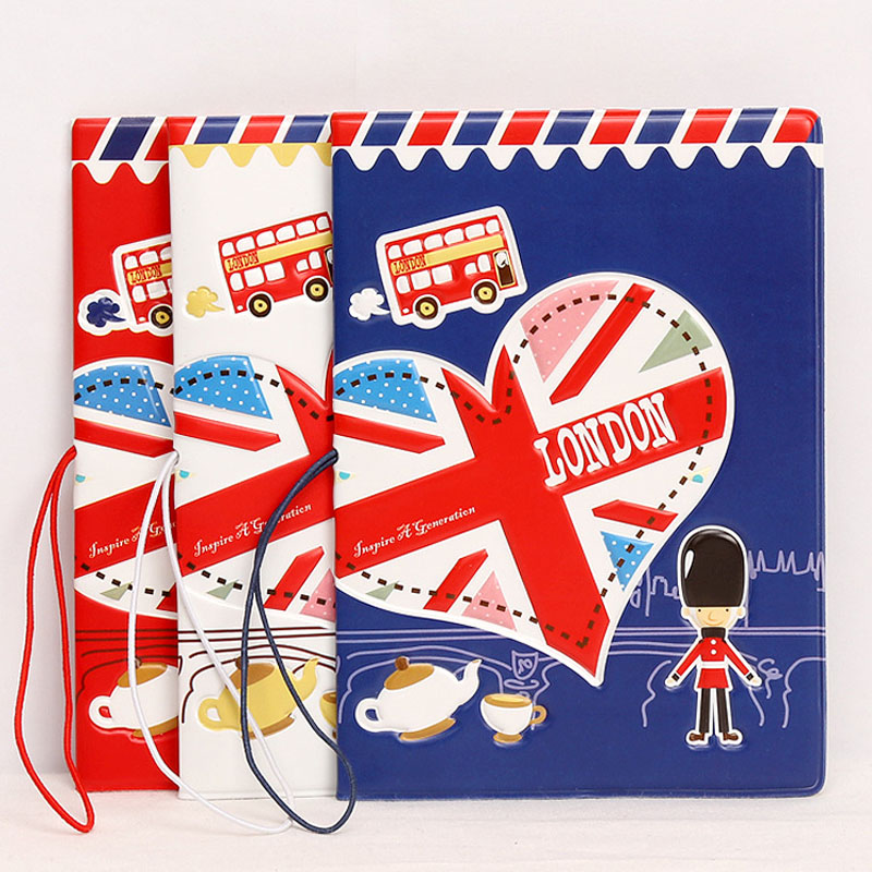 OKOKC British London Style Passport Cover 3D Embossed Passport Sets PVC Leather Passport Holder Travel Ticket Pouch Packages