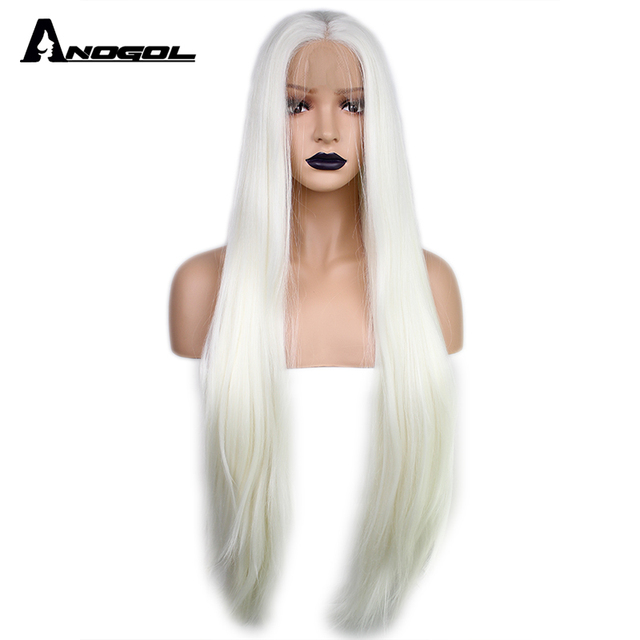 Anogol Long Natural Straight White Blonde Glueless High Temperature Fiber  Middle Part Synthetic Lace Front Wig for Drag Queen 97fa0a824913