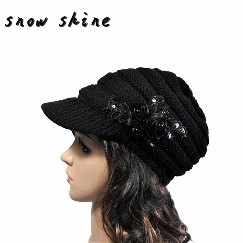 snowshine #5003  2016 Korean version of the new autumn and winter ladies hat brim Sequin applique FREE SHIPPING free shipping 2016 autumn and winter explosion models men korean version of slim long warm hooded coat