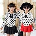 Os recém-chegados primavera marca crianças vestidos menina polka dot vestido de bebê vestidos da menina 4-8-9 roupas idade adolescente vestido da menina da criança