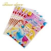 500 sztuk/partia Trzy PrincessTheme Party Gift Bag Party Dekoracje Plastikowe Cukierki Torba Loot Bag Dla Kids Festival Party Supplies