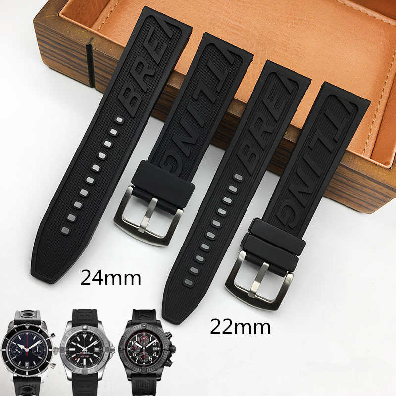 MERJUST Luxury Brand Silicone Rubber thick Watchband 22mm 24mm Black Watch Strap For navitimer avenger Breitling Pin buckle