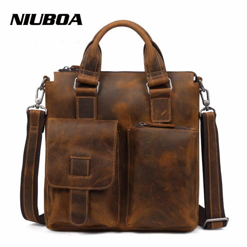NIUBOA 100% Top Cow Genuine Leather Shoulder Bags New Casual Crazy Horse Handbags Men Messenger Bags Business Briefcase Tote niuboa genuine leather shoulder bags 100