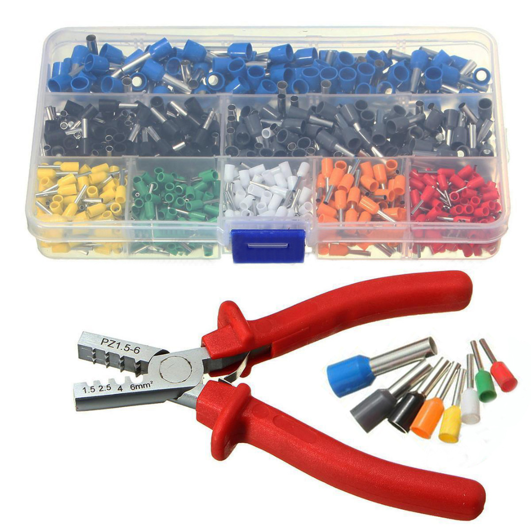 цена на 800pcs Cable Wire Terminal Connector with Hand Ferrule Crimper Plier Crimp Tool Kit Set Hand Ferrule Connector Wire AWG 10 -22