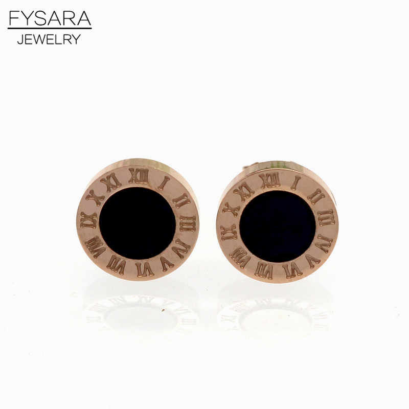 FYSARA Elegant Couple Jewelry White Shell Earring Titanium Steel Rose Gold-Color Roman Numerals Stud Earrings For Women Men Girl