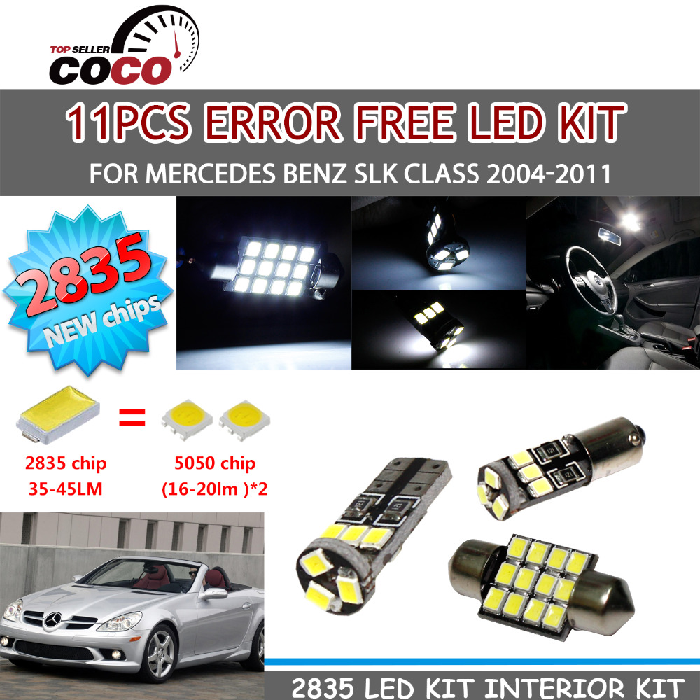 ФОТО 11+1Pcs Canbus Error Free SAMSUNG  2835 SMD LED Kit Package White Light lamp For Mercedes Benz SLK Class 2004-2011 #91