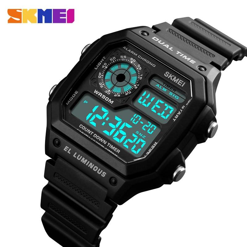 SKMEI Fashion Outdoor Sport Watch Men PU Strap Multifunction Waterproof Watches Alarm Male Digital Watch Reloj Hombre 1299