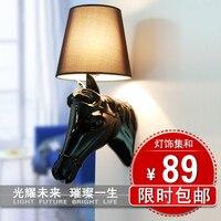 Breve moderna testa di cavallo in resina dell'annata illuminazione ofhead illuminazione personalizzata lampada da parete gangnam panno ombra
