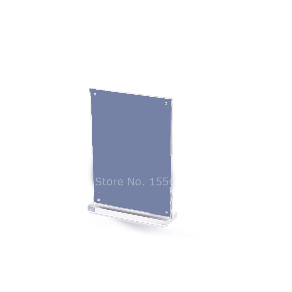 Clear Acrylic 180x100mm Table Sign Display Holder Ad Frame Block Brochure Holder
