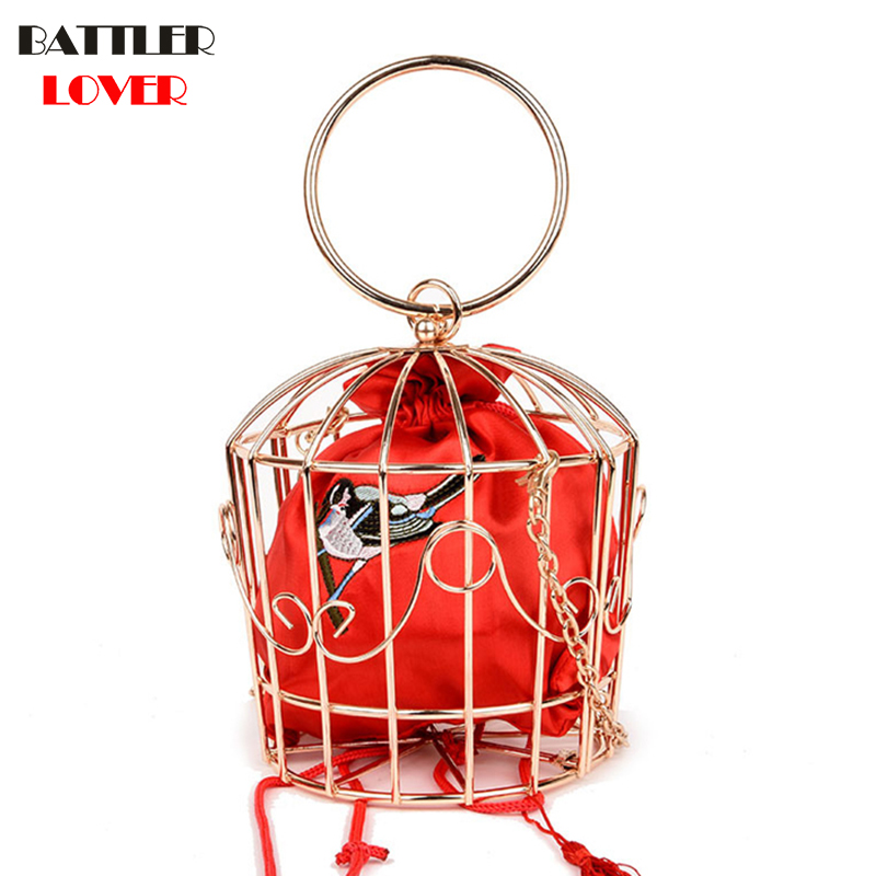 NEW Design Womens Birdcage Evening Bag Clutch Metal Frame Embroidery Bucket Mini Bag Purse Women Mujer Femme Gold Tassel Handbag