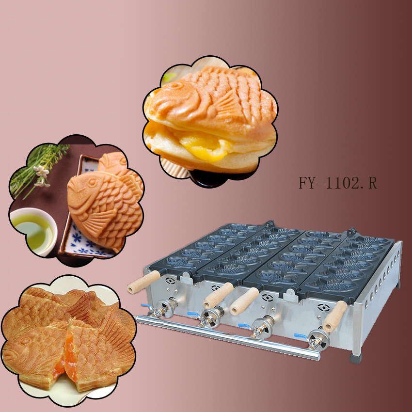 1PC New and high quality gas type Double plate 12 pcs Fish Taiyaki Waffle maker/non-stick pan/waffle grill high quality automatic gas taiyaki fish cake making machines