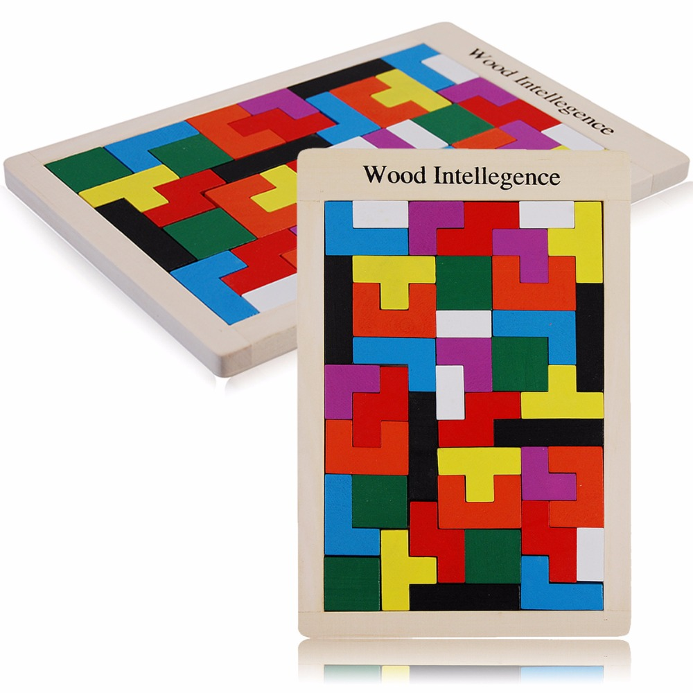 Classic Wooden Colorful Tangram Brain Tetris Wood Game Assembled Puzzle Preschool Children Play Training Educational Toys 1