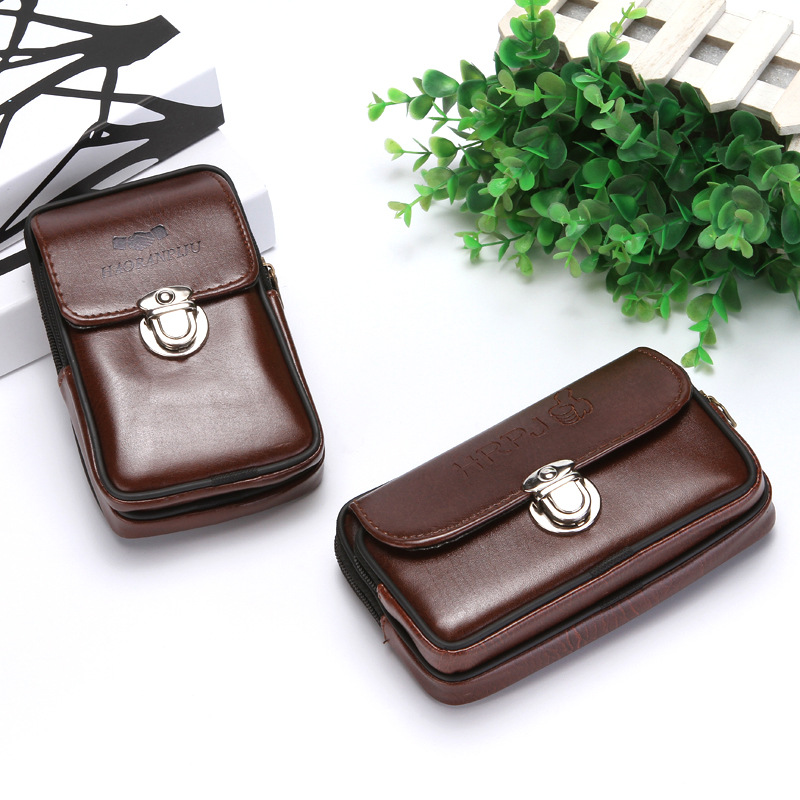 BISI GORO Phone Coin Key Small Men Waist Bag PU Leather Waterproof  Cigarettes Packs On The Belt Multi-function Outdoor Purse
