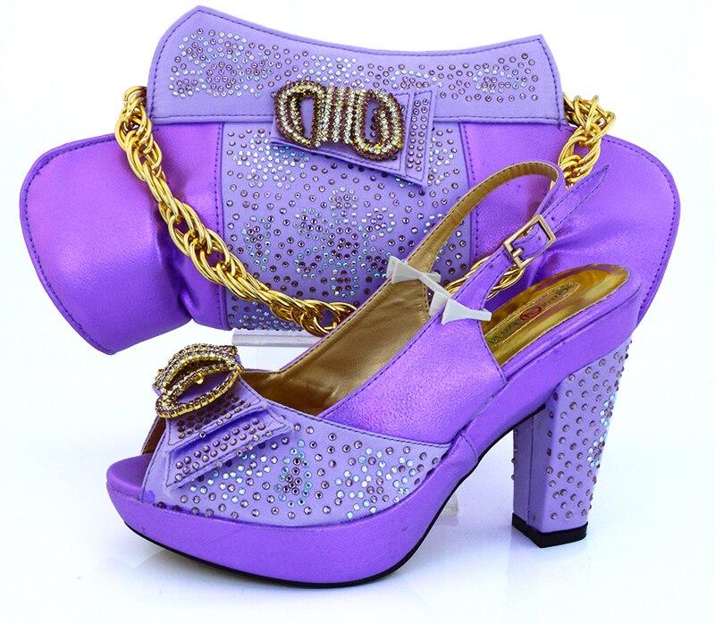 6eb4e8840e1 Bombas de salto alto 4 polegadas pedras lilás violeta sapatos combinando  com bolsa de noite saco garras SB8048 sapatos italianos e saco em Bombas  das ...