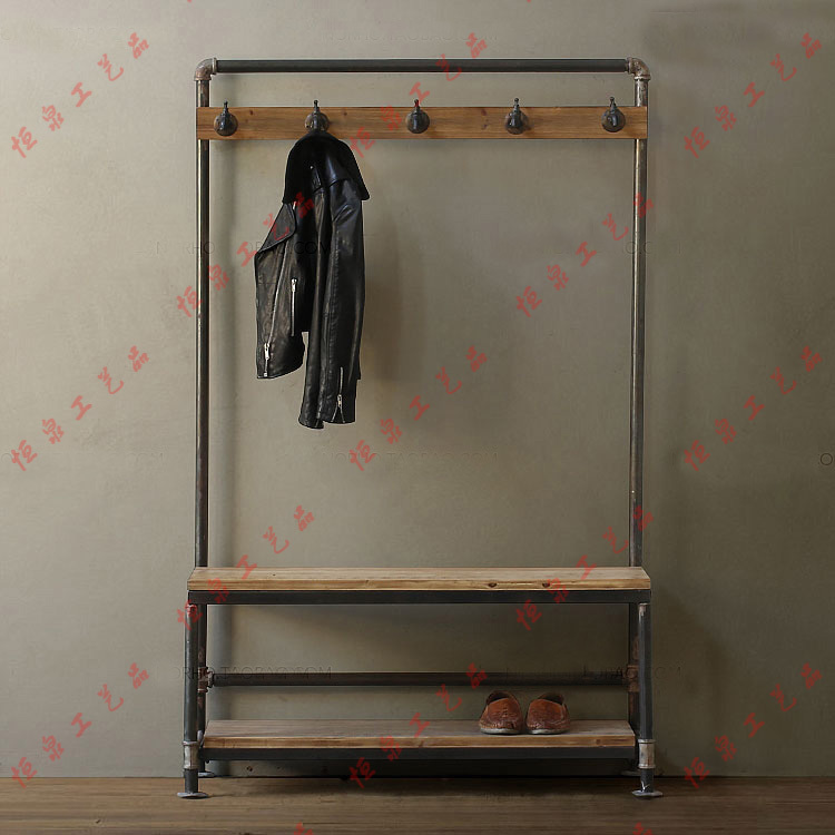 Nordic American country industrial pipes iron coat rack