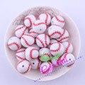 Envío Libre 20 MM 100 Unids/lote Impresión Tallada Blanco de Béisbol de Acrílico Perlas Para La Decoración de La Joyería # CDBD-601178