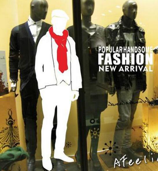 bdda93cac Loja de roupas loja de modelo Masculino dos homens projeto Vitrine adesivo  de parede homem Fresco moda etiqueta da janela em Adesivos de parede de  Home ...