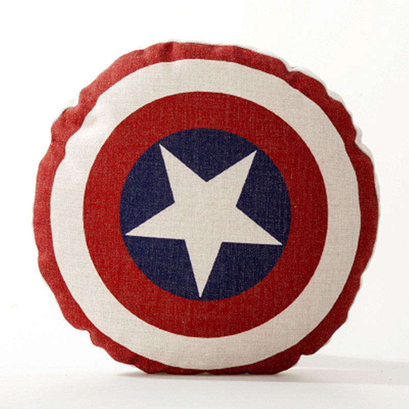The Avengers 4 Captain America Shield Back Cushion Iron Man Round Pillow Sofa Car Decoration  Creative Living Room Gift M788The Avengers 4 Captain America Shield Back Cushion Iron Man Round Pillow Sofa Car Decoration  Creative Living Room Gift M788