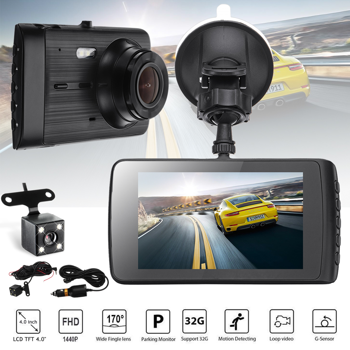 Dual Lens HD 1440P Dash Camera International Version Car DVR GPS Camera Car DVR Screen Cam Vehicle Video Recorder