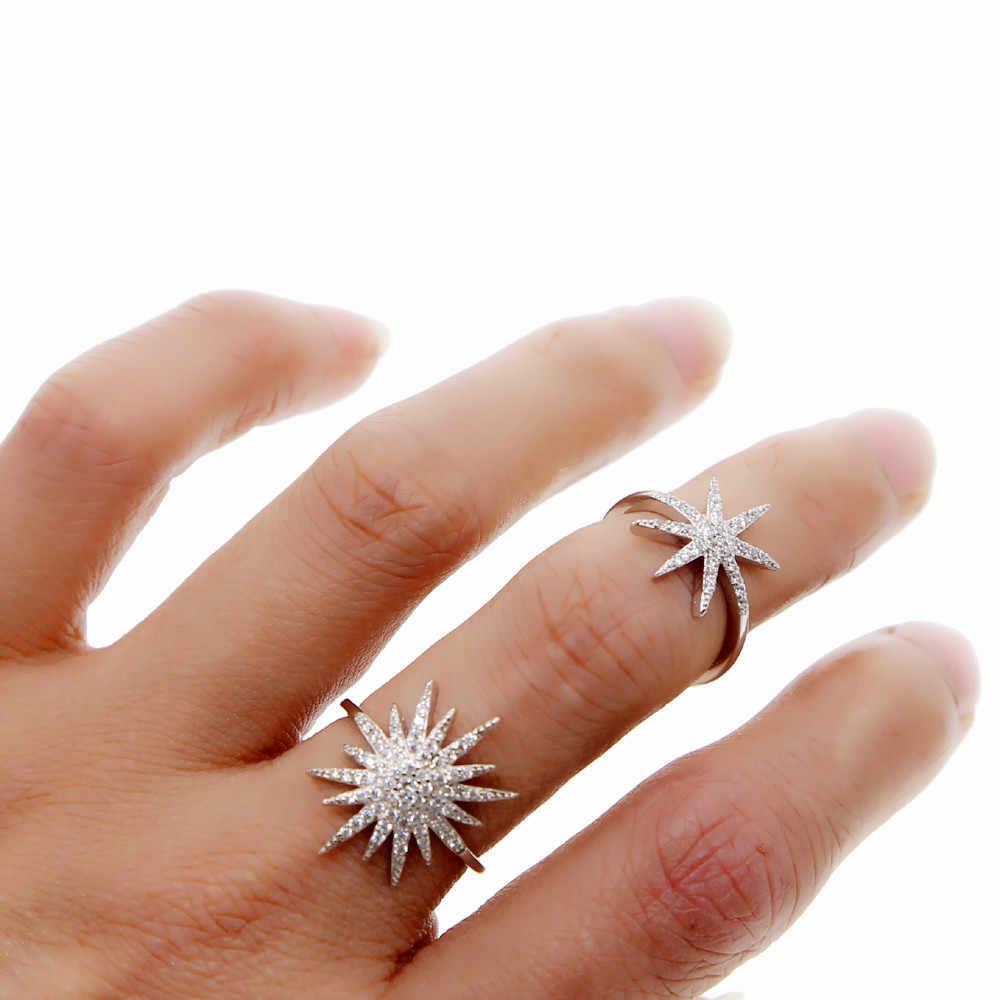 ร้อนฤดูร้อนของขวัญ North Star starburst เปิด MIDI Finger แหวนเงินสี Micro Pave CZ sparking bling เครื่องประดับนิ้วมือ