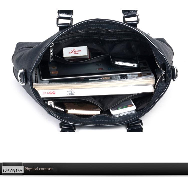 DANJUE Men Handbag Genuine Leather Male Briefcase Brand Design Messenger Bag Business 14″ Laptop Bag Real Cowskin Shoulder Bags