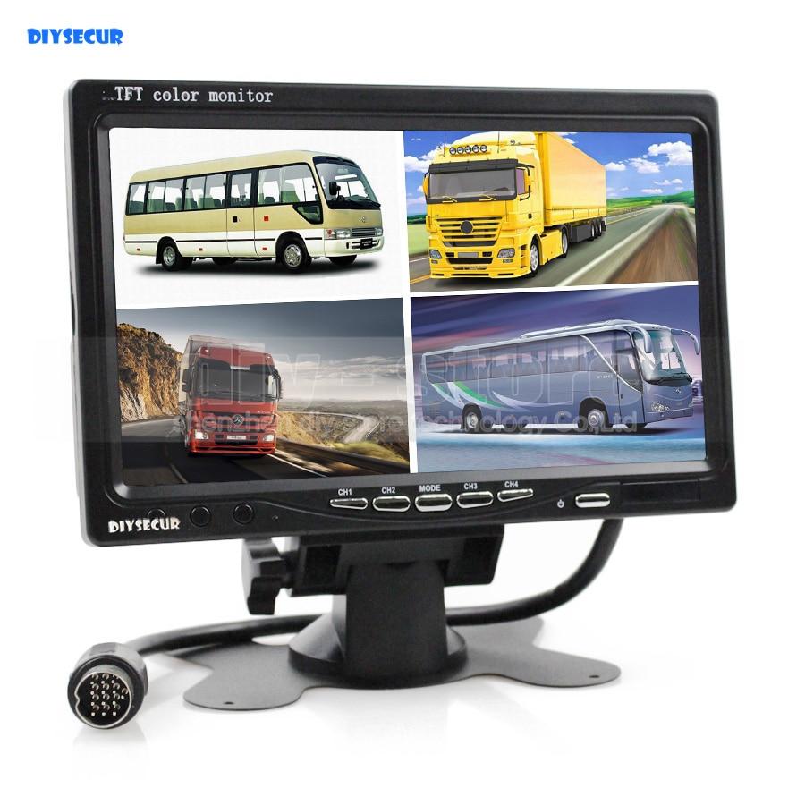 DIYSECUR New 7 Inch 4 Split Quad Display Color Rear View Monitor CCTV Security Monitor кружка 350мл фаянс коричневый