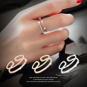 New Arrivals 925 Sterling Silver Open Rings Double Layer Rhinestone Rings For Girl Women Rings Gift Jewelry(China)