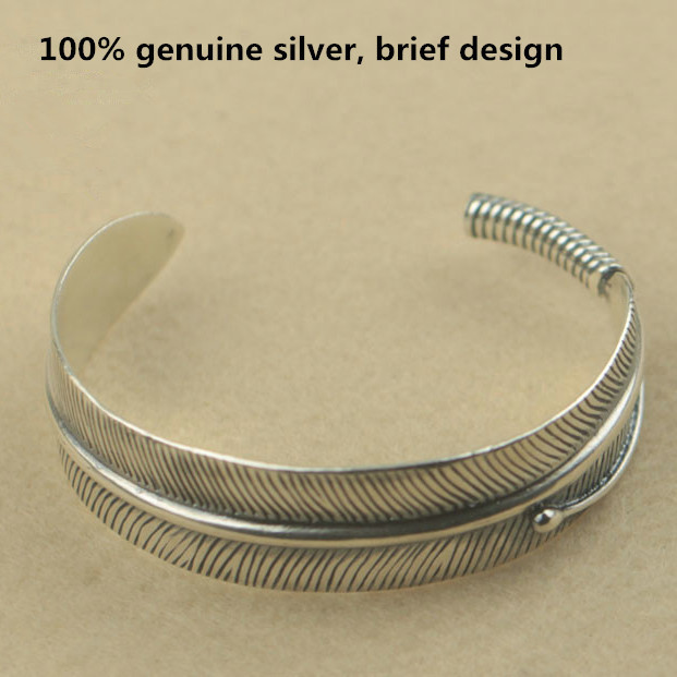 Genuine Silver 925 Feather Bracelet Open Cuff Bangle Men Women Brief