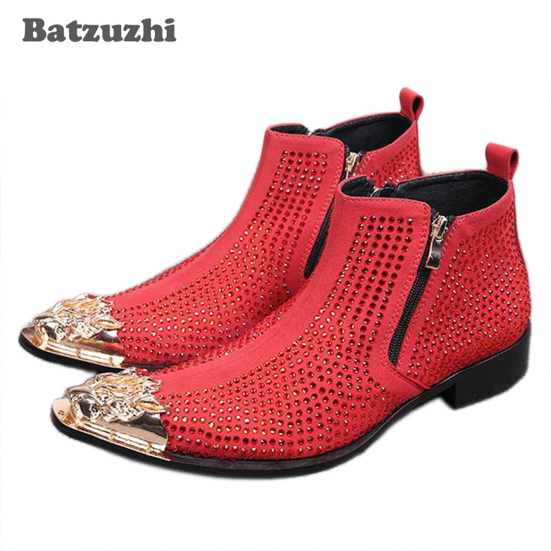 batzuzhi Luxury Men's Ankle Boot Fashion Rhinestones Leather Short Boots for Men with Metal Pointed Toe Party and Wedding Botas