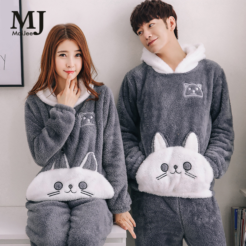MaiJee Couple   Pajama     Sets   Sleepwear Thick Pyjamas   Set   Warm   Pajamas     Set   Pijama De Animal Flannel Pijamas Mujer Pijamas Entero