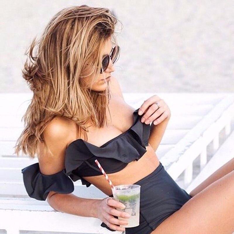 Pocket Girl 2017 Bandeau Ruffled swimwear High wasit bikini set brazilian cropped feminino bathing suit women maillot de bain bohemian ruffled bandeau bikini
