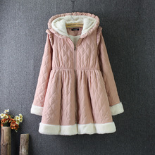 Japanese Style Super Warm Lamb Wool Long Coat for Women Cotton Padded Skirt Overcoat with Hood Zipper Winter Clothes