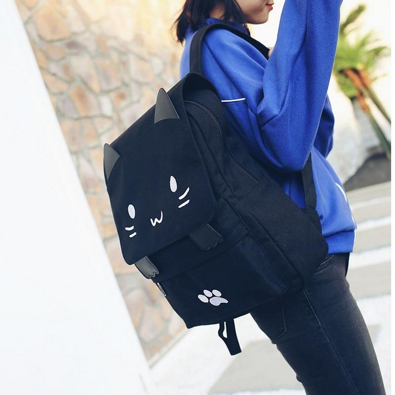 Casual Women Backpack Canvas School book Bag for Girls Back Pack Printing Cute Cat Schoolbags Big Pink Black School Bag 2018