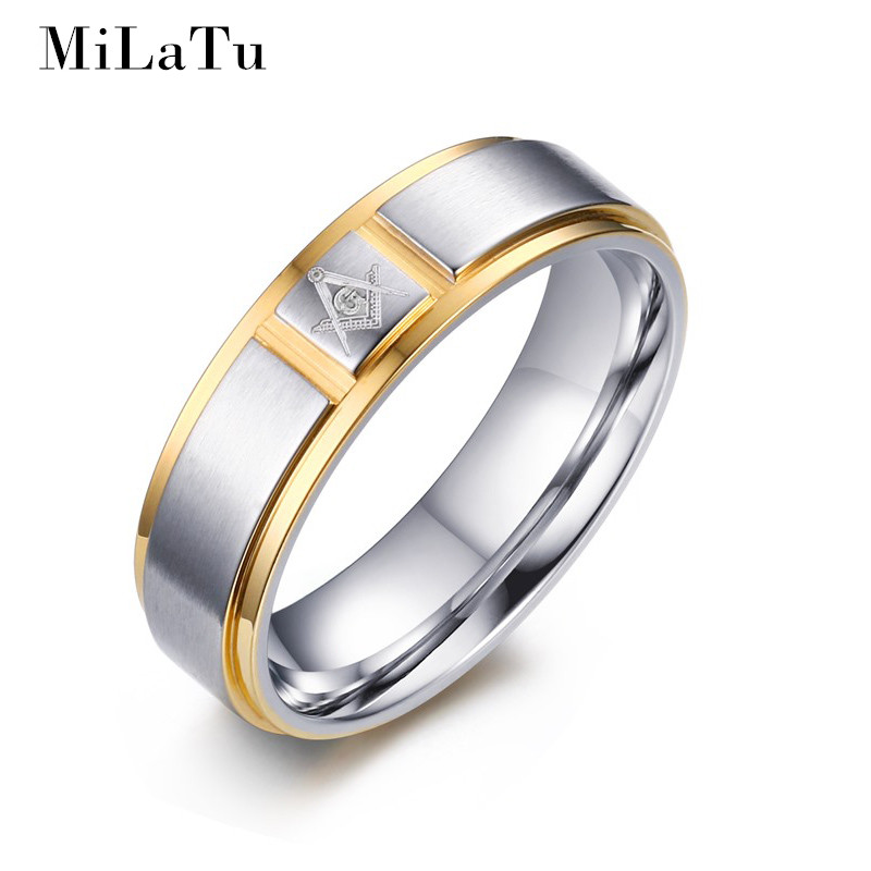 Milatu Unique Men Masonic Rings Stainless Steel Wedding Bands For Surgical Freemasonry Ring Jewelry Anel R530g In From