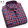Langmeng 2016 бренд высокого quality100 % хлопок весна осень мужская плед случайные рубашки мужчин slim fit фланелевые теплые рубашки camisa