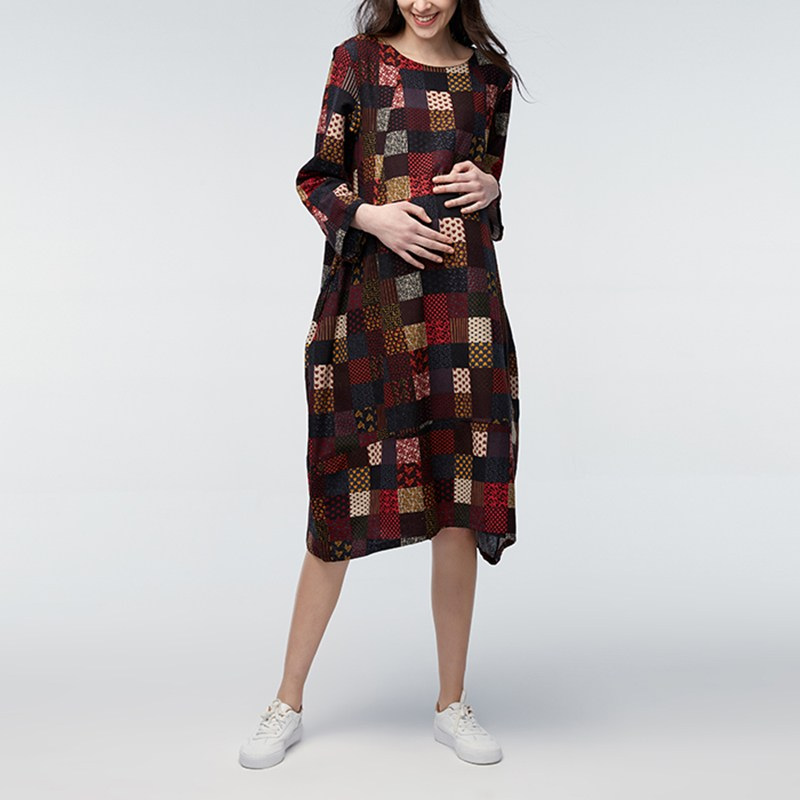 Maternity Clothing 2018 Autumn Casual Loose Mid-calf Dress Pregnant Women Long Sleeve Plaid Print Pregnancy Mothers Vestidos