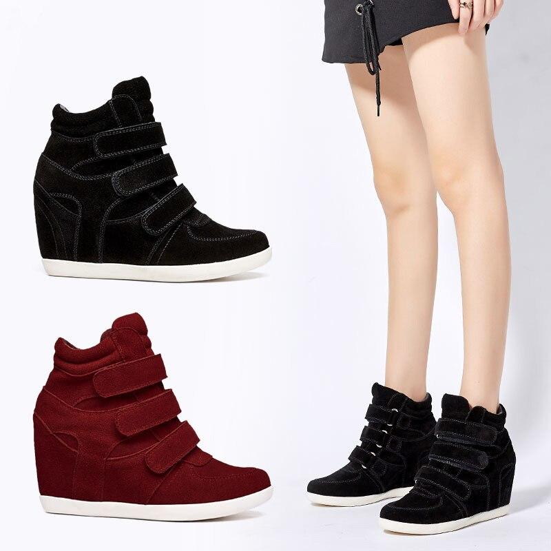 Chaussures décontractées femmes en cuir baskets 2019 noir plate-forme femme intérieur augmenté 7 cm baskets mode femme baskets chaussures en daim