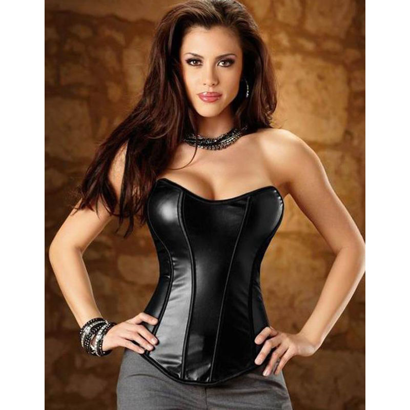 S-XL Overbust   Corset   Women Cheap Sexy Black Shapewear PVC Faux Leather Slimming Waist   Bustier     Corset   Vinyl Zipper Slide Korse