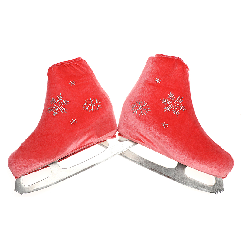 24 Colors Child Adult Velvet Ice Figure Skating Shoes Cover Solid Color Roller Skate Accessories Athletic Rose Red Snow Pattern