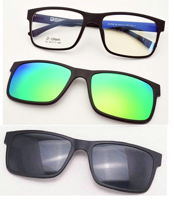 c73d5d3120 2016 Mercury color ultem glass frame with magnet clip set mirror lense  double polarizing sunglasses jkk80 myopia glasses frame