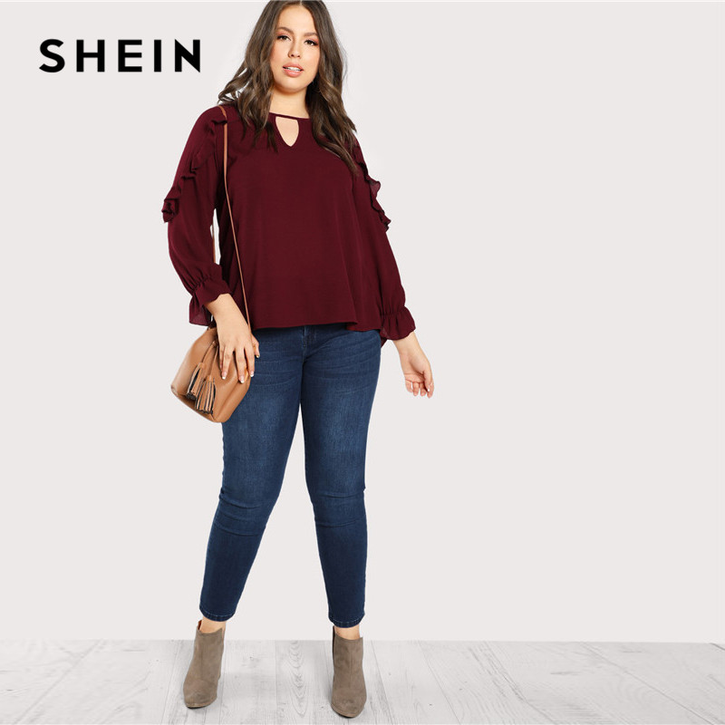 6e89d74d4f3 SHEIN Burgundy Ruffle Trim Sleeve Casual Plus Size Women Blouses Spring  Autumn Workwear Cutout O Neck Solid Top Blouses-in Blouses   Shirts from  Women s ...